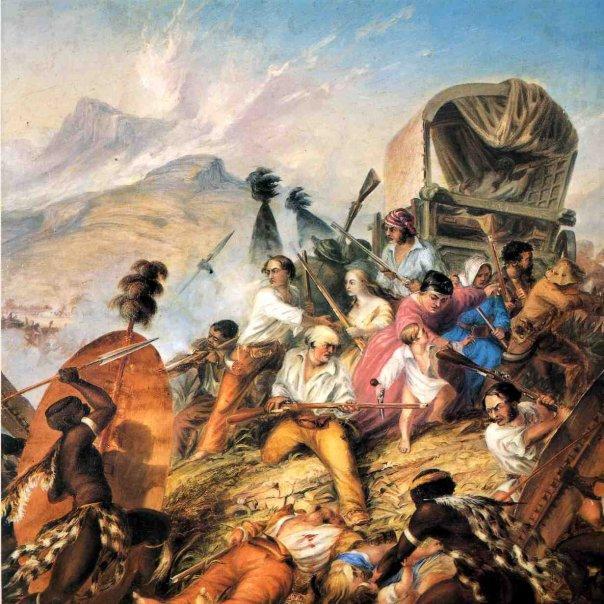 Voorstelling van Bloukrans moorde - A Pictorial History of the Great Trek, Tafelberg, 1978 - CFJ Muller