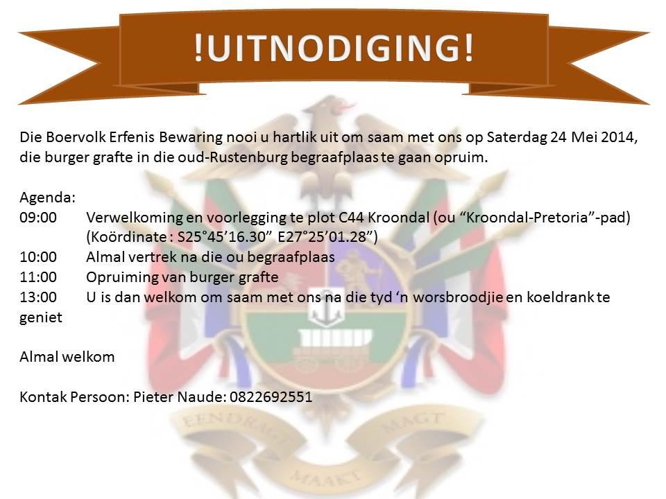 Uitnodiging Rustenburg Aksie 24 Mei 2014